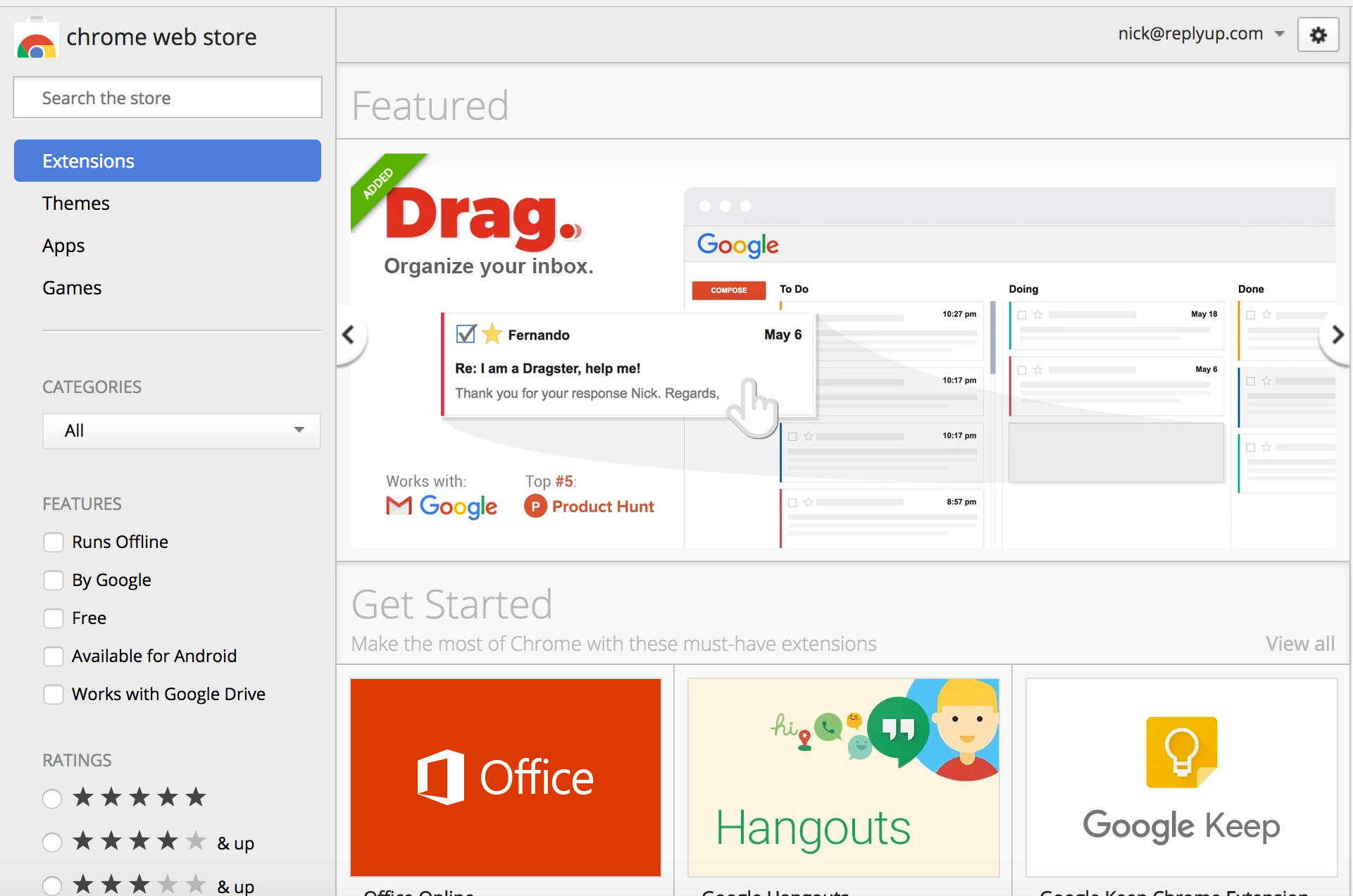 How to get featured on Google Chrome store - Drag