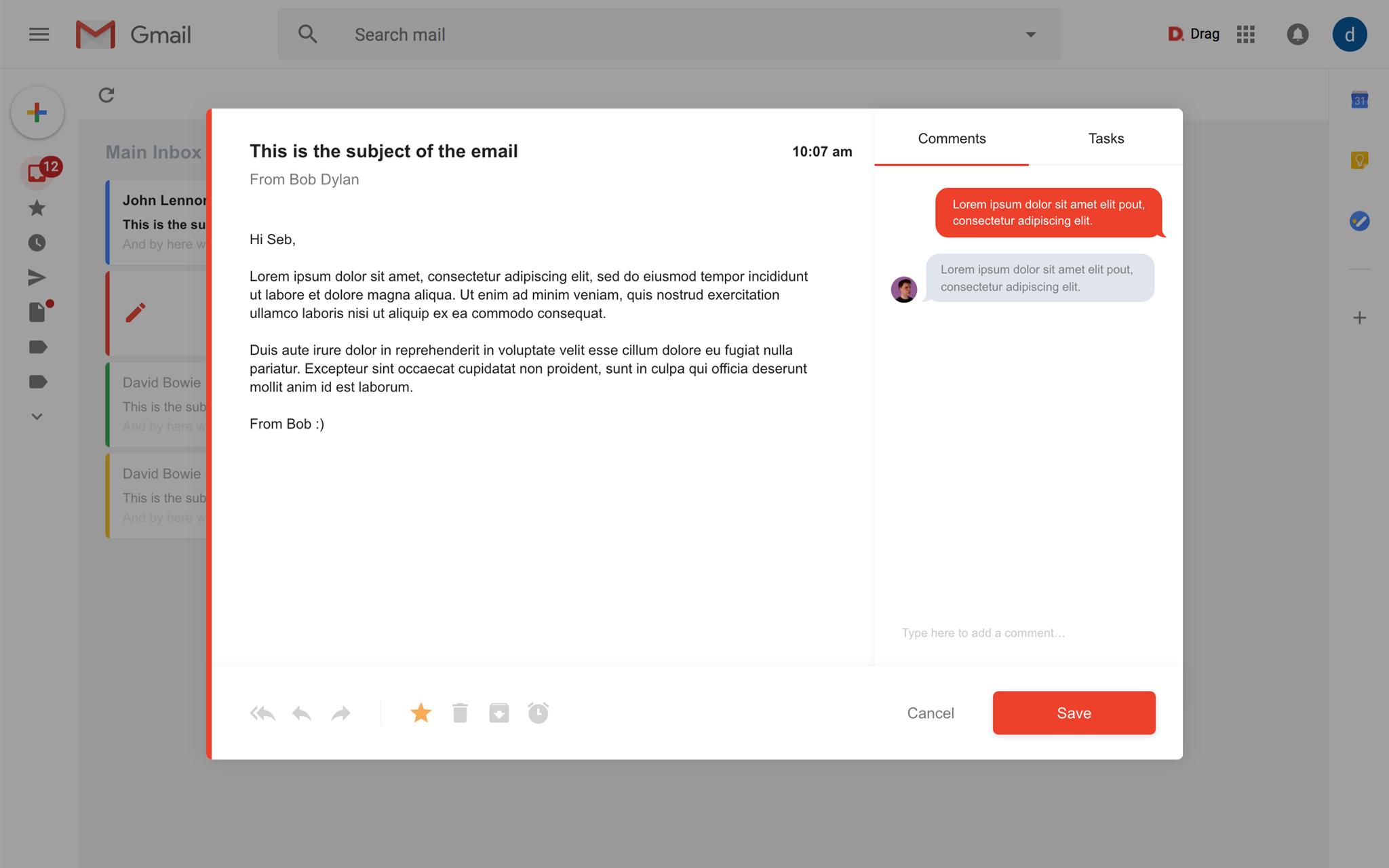drag app shared inbox