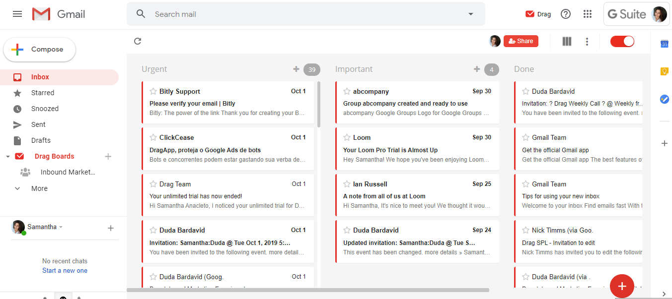 Gmail inbox filters in Drag
