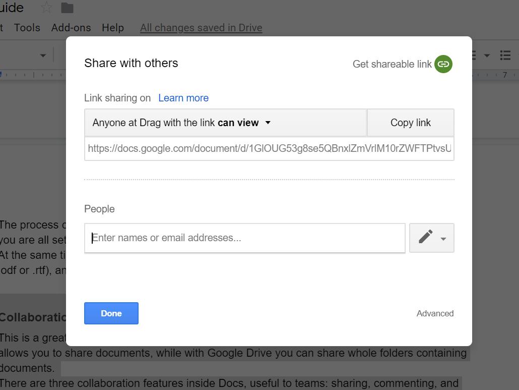 Google Docs - sharing