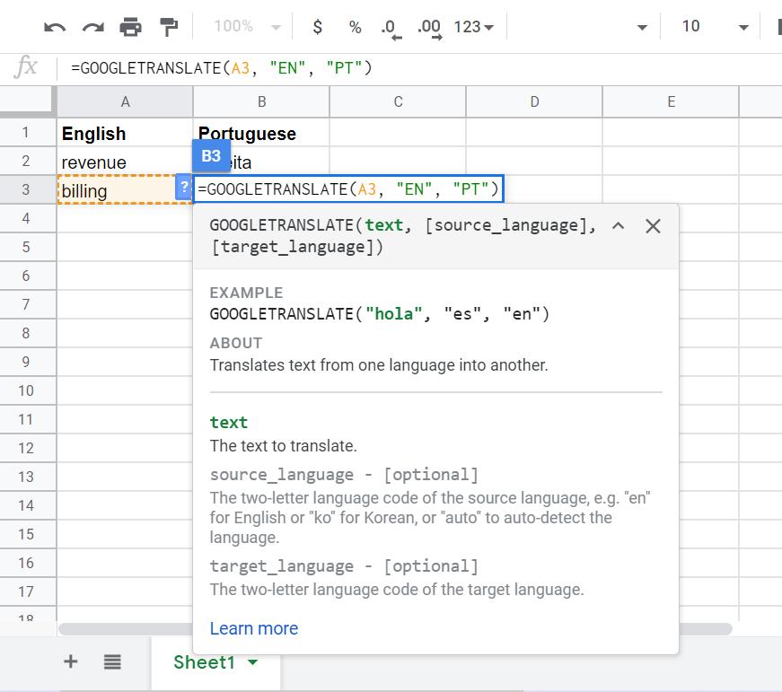 GOOGLE TRANSLATE in Google Sheets