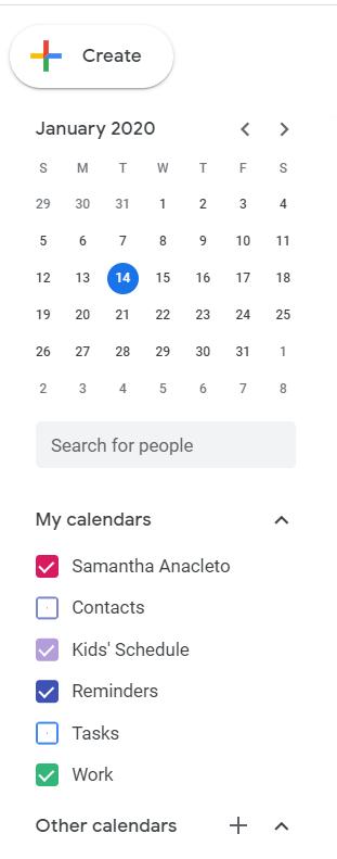 google calendar toobar