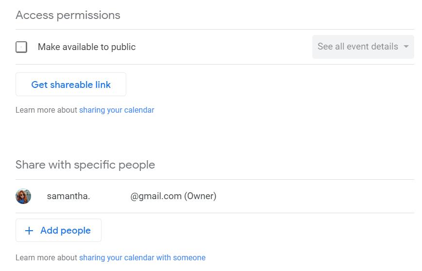permissions Google Calendar