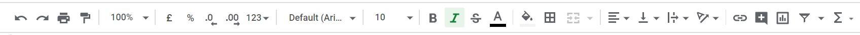toolbar Google Sheets