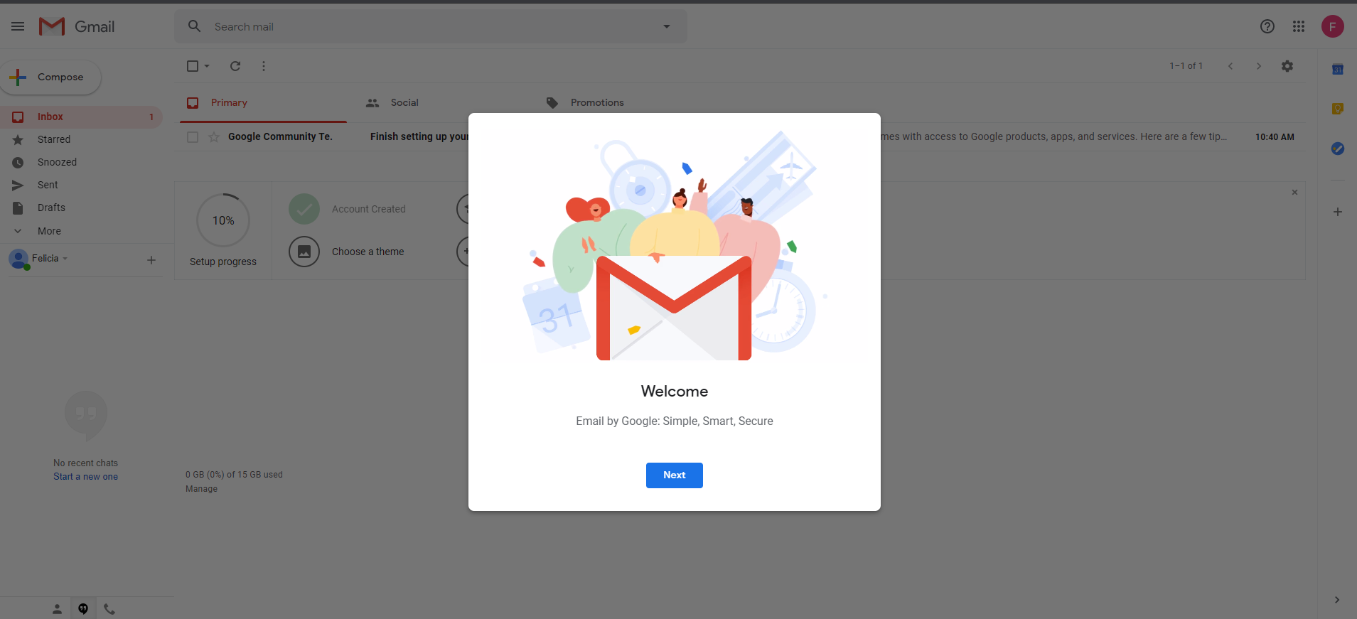 setting up google account