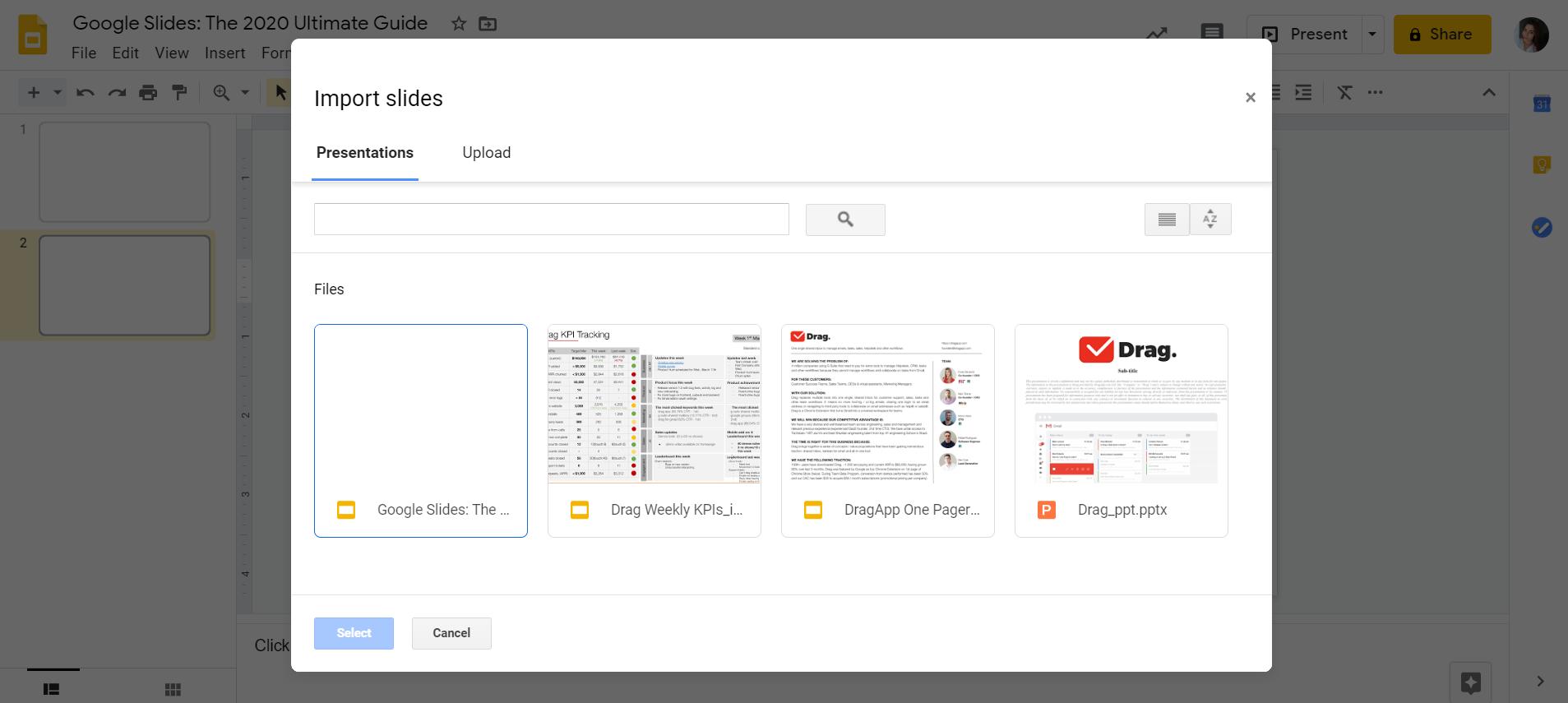 import Google Slides