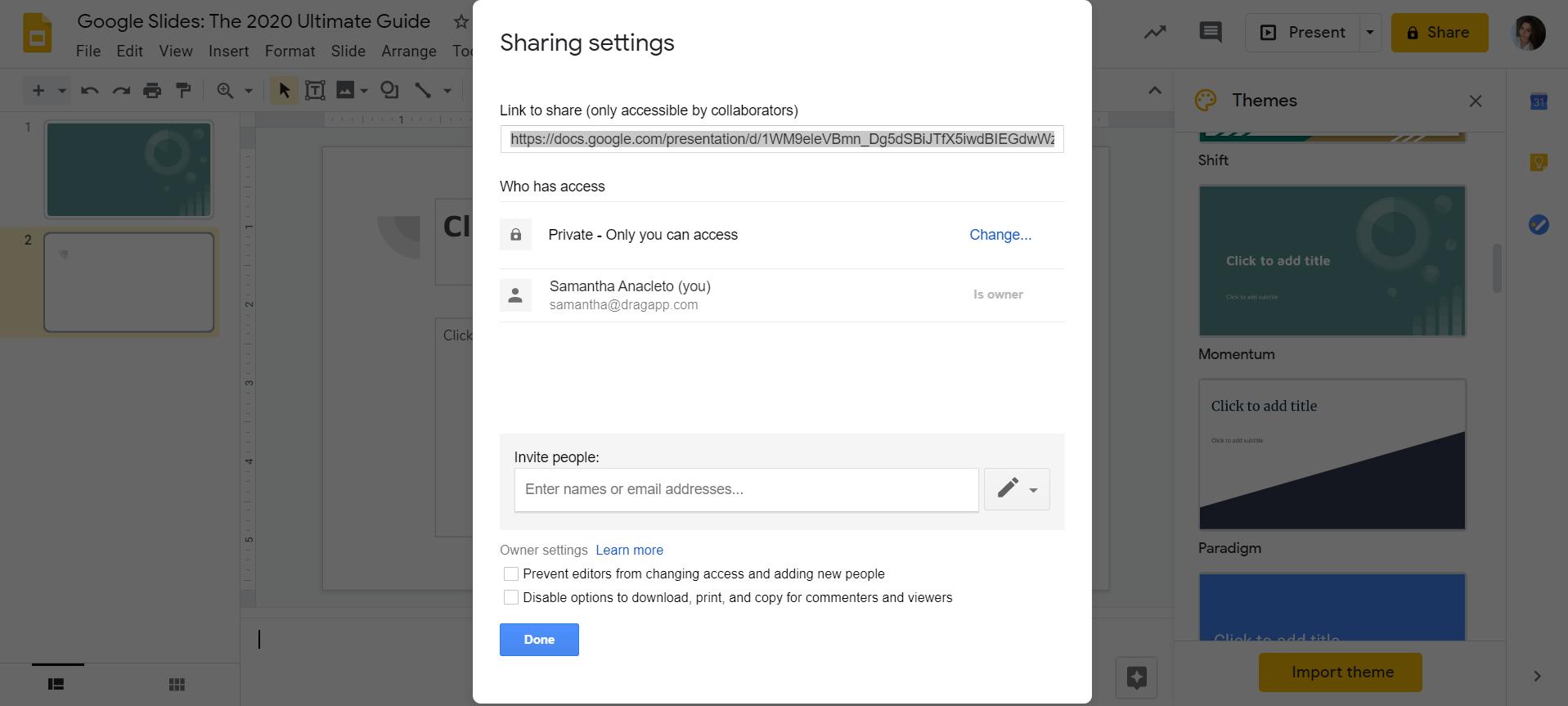 sharing Google Slides