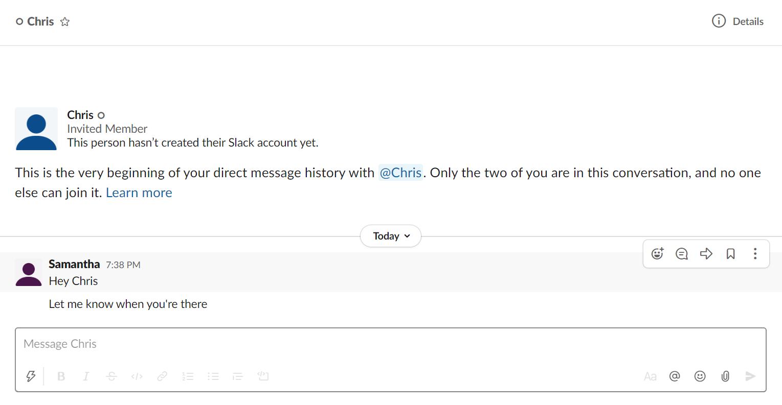 Slack direct messages