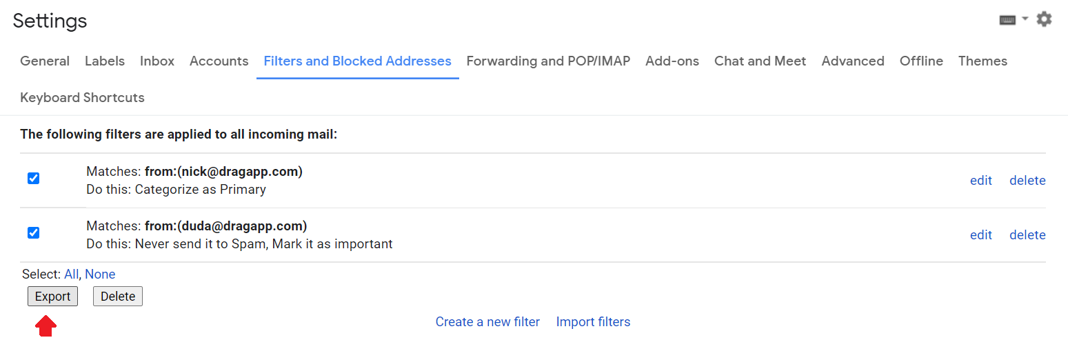 export Gmail filters