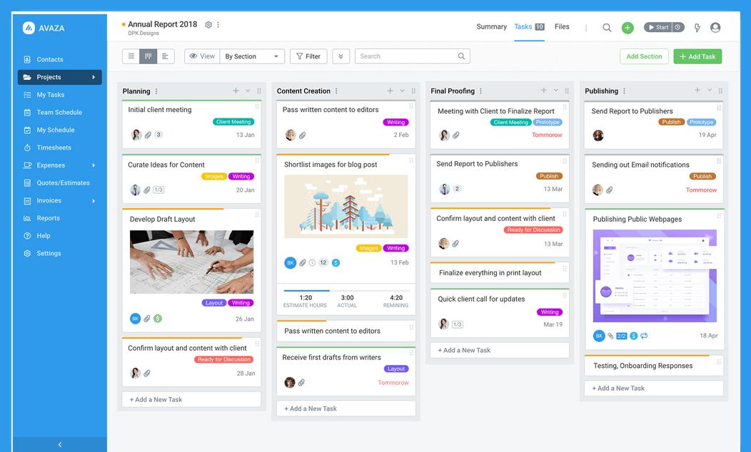 Avaza managing projects