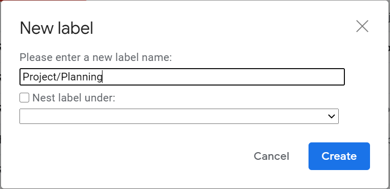 how to nest labels in Gmail
