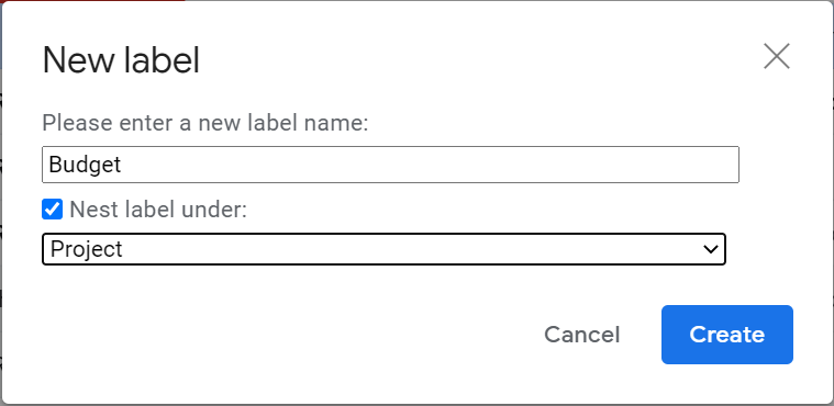 how to create nested label in Gmail