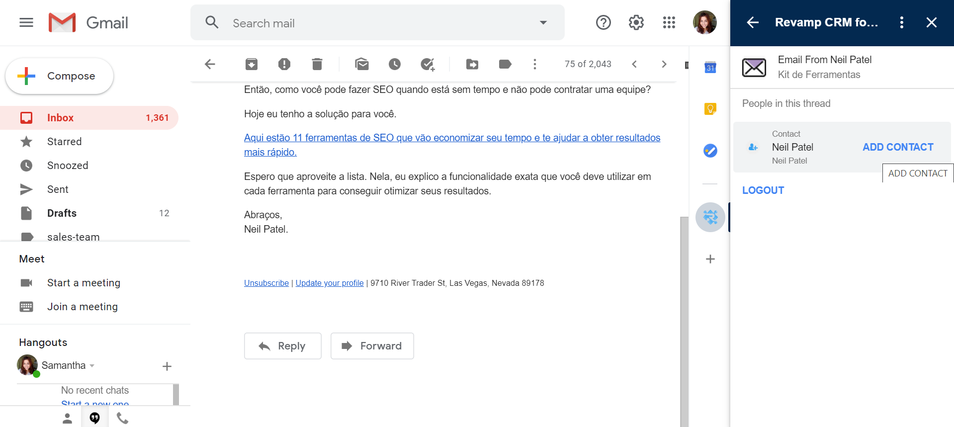 Revamp Free Crm Software in Gmail