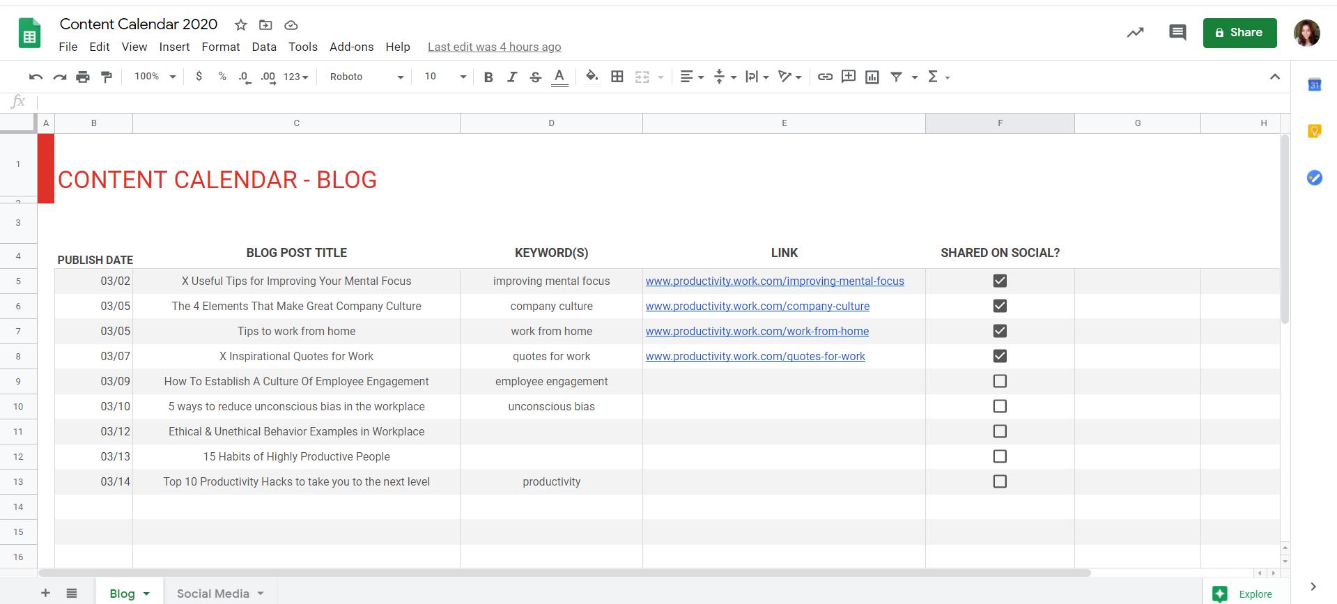 content calendar G Suite Google Sheets