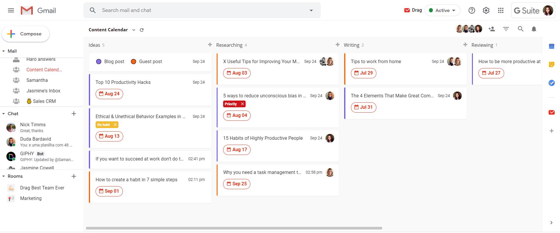 content calendar G Suite Gmail